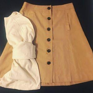 Banana Republic tan, button up circle skirt